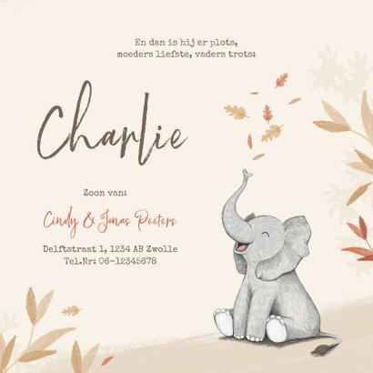 Geboortekaartje herfst olifant unisex blaadjes jongen meisje 3