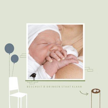 Geboortekaartje hip groen illustratie raamvisite baby 2