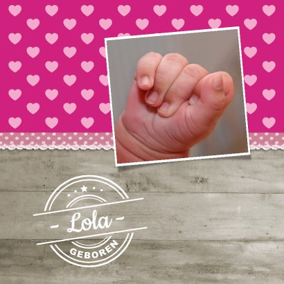 Geboortekaartje Hip Hout Roze 2