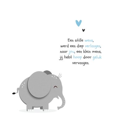 Geboortekaartje hip jongen hartjes olifant 2