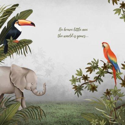 Geboortekaartje hip jongen jungle dieren botanisch 2