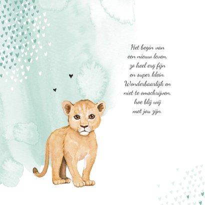 Geboortekaartje hip leeuw waterverf hartjes 2