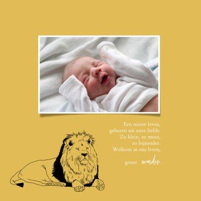 Geboortekaartje hip lijntekening leeuw oker geel 2