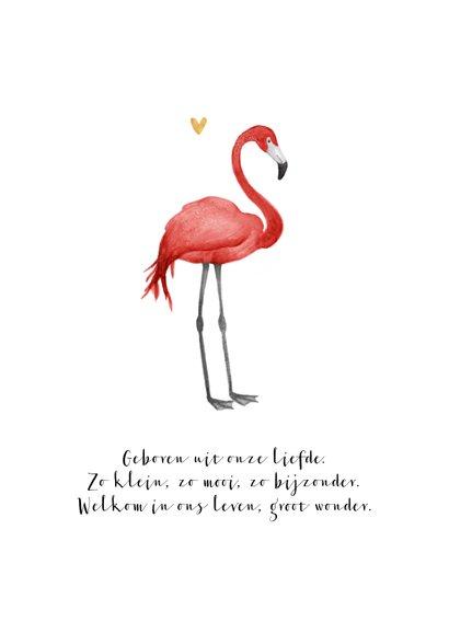 Geboortekaartje hip meisje bloemen flamingo hartjes 2