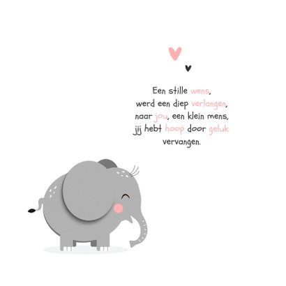 Geboortekaartje hip meisje hartjes olifant 2