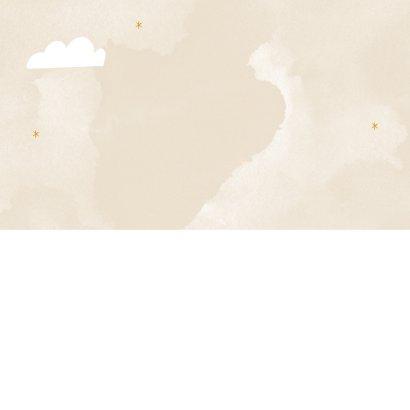 Geboortekaartje hip met regenboog, wolkjes en maan Achterkant