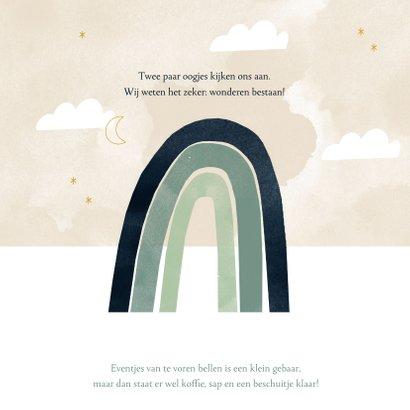 Geboortekaartje hip regenboog, maantje wolkjes 2