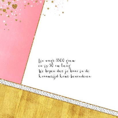 Geboortekaartje hip roze goud hartjes en sterretjes 2