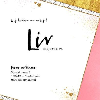 Geboortekaartje hip roze goud hartjes en sterretjes 3