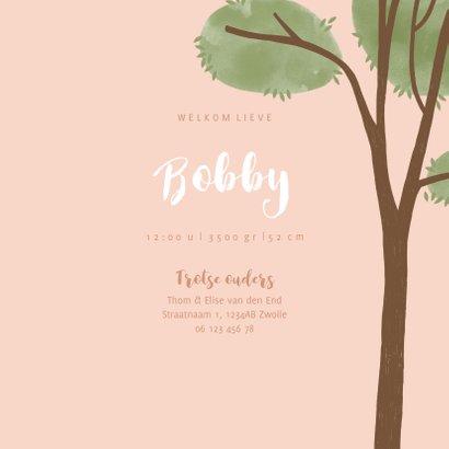 Geboortekaartje hip roze illustratie raamvisite baby 3
