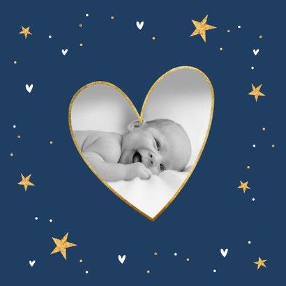 Geboortekaartje hip sterren hartjes goud foto 2