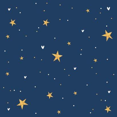 Geboortekaartje hip sterren hartjes goud foto Achterkant