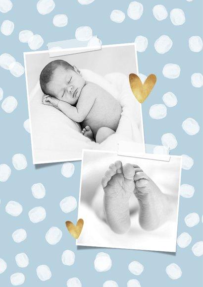 Geboortekaartje hip stippen hartjes foto goud 2