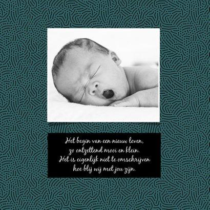 Geboortekaartje hip stoer zwart groen patroon 2
