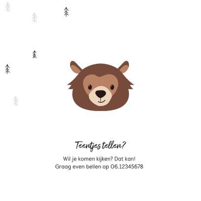 Geboortekaartje hip trendy beer pijltje bomen 2