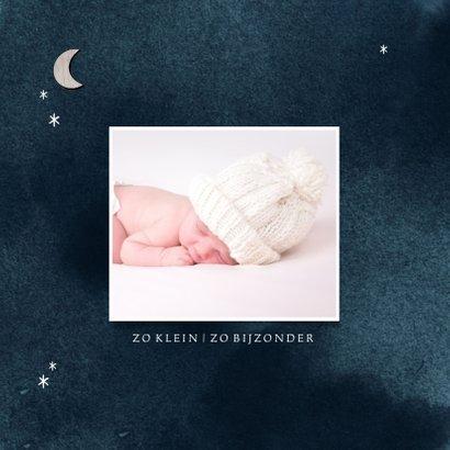 Geboortekaartje houten maantje en sterren waterverf 2
