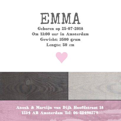 Geboortekaartje houtprint meisje 3