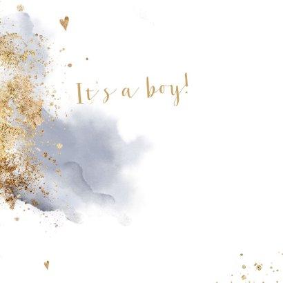 Geboortekaartje jongen Clean aquarel goudlook poeder 2