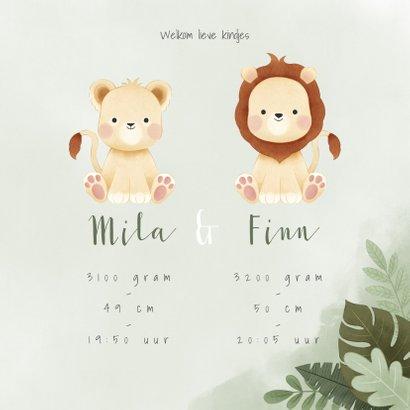 Geboortekaartje jongen & meisje leeuwtjes jungle 3