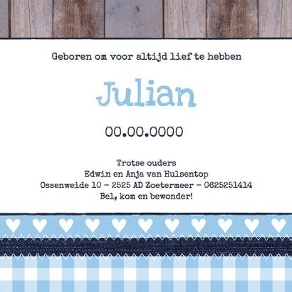 Geboortekaartje jongen foto label hout 3