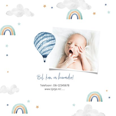 Geboortekaartje jongen foto wolkjes luchtballon regenboog 2