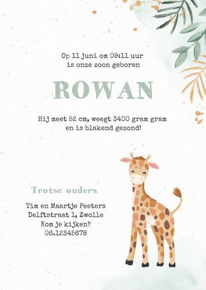 Geboortekaartje jongen giraf botanisch goud waterverf 3