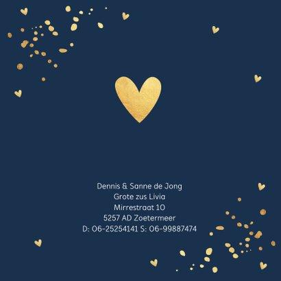 Geboortekaartje jongen goudlook confetti hartjes 2