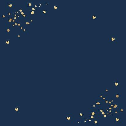 Geboortekaartje jongen goudlook confetti hartjes Achterkant