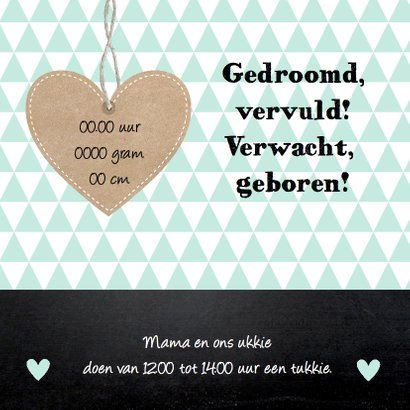 Geboortekaartje jongen hartje krijtbord 2
