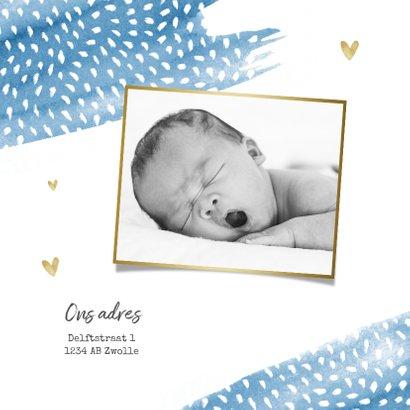 Geboortekaartje jongen hip hartjes waterverf stipjes 2