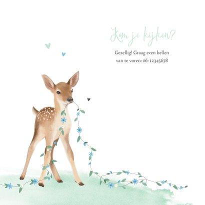 Geboortekaartje jongen lief hertje bloemen lente waterverf 2