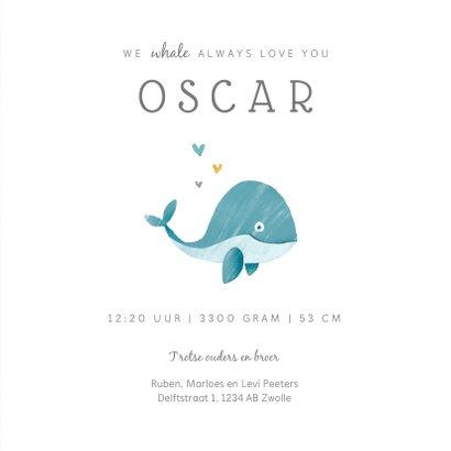 Geboortekaartje jongen lief met walvisje 3