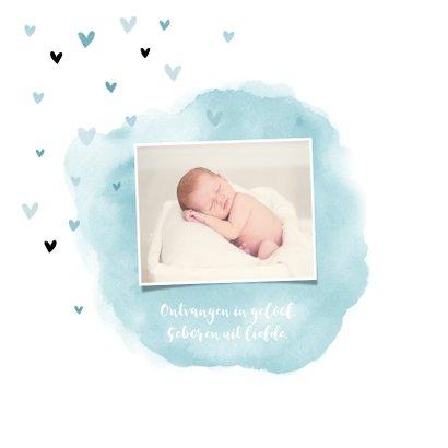 Geboortekaartje jongen lief met waterverf en hartjes 2