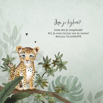 Geboortekaartje jongen luipaard botanisch groen jungle 2