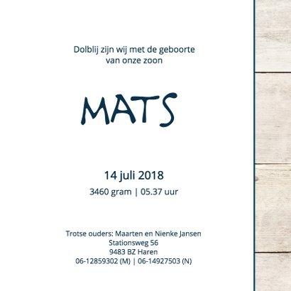 Geboortekaartje jongen Mats 3