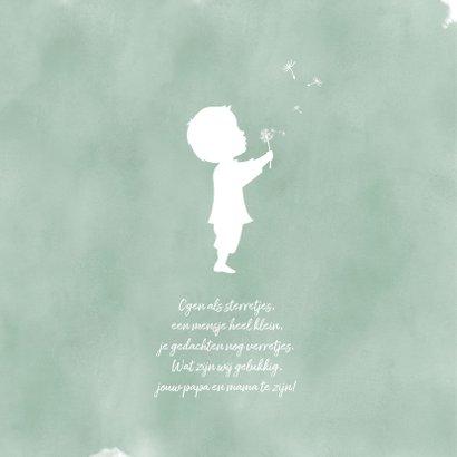 Geboortekaartje jongen met paardenbloem waterverf silhouet 2