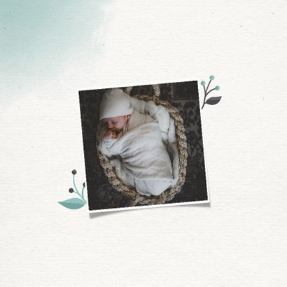 Geboortekaartje jongen met takjes en waterverf 2