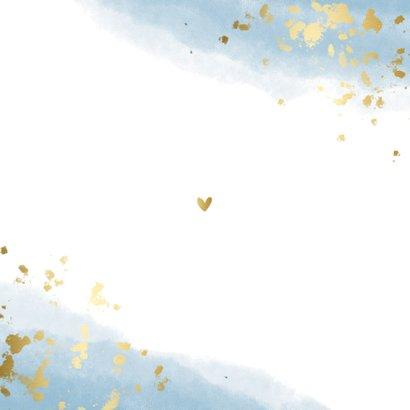 Geboortekaartje jongen met waterverf en gouden spetters Achterkant