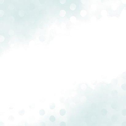 Geboortekaartje jongen met waterverf en stippen vierkant Achterkant