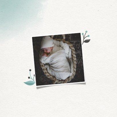 Geboortekaartje jongen met waterverf en takjes 2