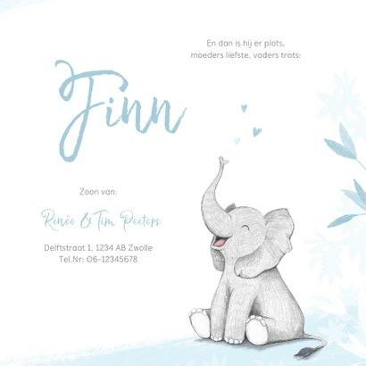 Geboortekaartje jongen olifant dieren blauw illustratie 3