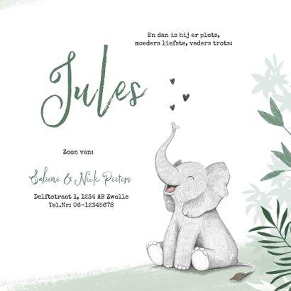 Geboortekaartje jongen olifant dieren groen jungle 3