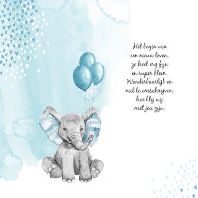 Geboortekaartje jongen olifant waterverf hartjes blauw 2