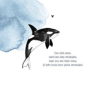 Geboortekaartje jongen orca waterverf hartjes 2