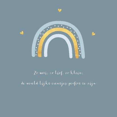 Geboortekaartje jongen regenboog goudlook 2