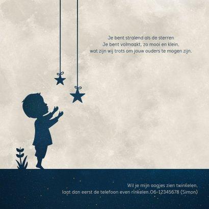 Geboortekaartje Jongen - silhouet met maan en sterren 2