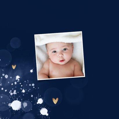 Geboortekaartje jongen spetters gouden hartjes 2