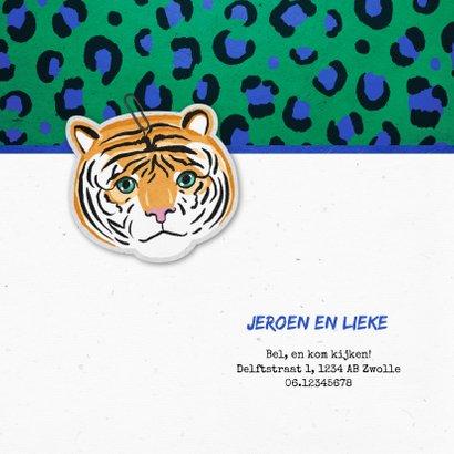 Geboortekaartje jongen stoer tijger panterprint groen blauw 2