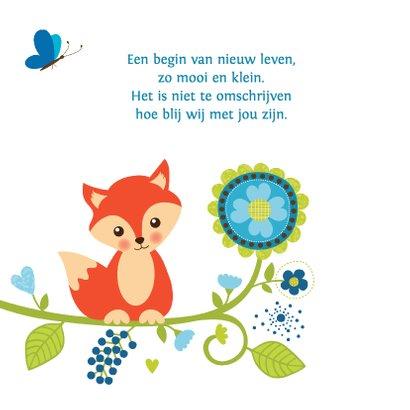 Geboortekaartje jongen vos bloemen 2