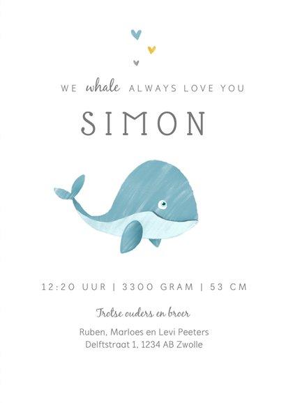 Geboortekaartje jongen walvis hartjes lief illustratie 3